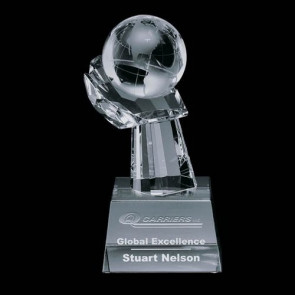 Globe on Hand Award - 4.25 in. Diam