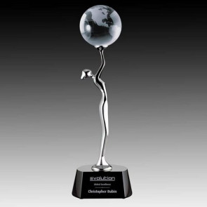 Aphrodite Globe Award - Black/Chrome 14 in.