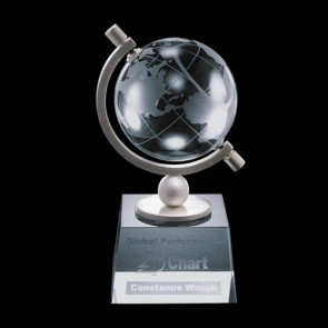Ashbrook Globe Award - Optical Crystal  3-1/8 in. Diam