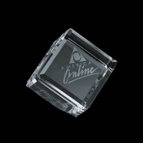Carlton Bevelled Optical Crystal Cube Paperweight  3 in.