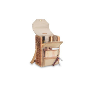 Corsica Wine & Cheese Basket, (Natural Willow with Tan Lining)