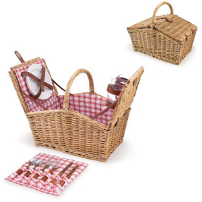 'Piccadilly' Picnic Basket, (Red White Plaid)