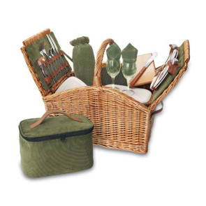 'Somerset' Picnic Basket, (Sage Hunter Green with Plaid)