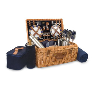 'Windsor' Picnic Basket, (Navy with Plaid)