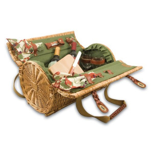 'Verona' Wine & Cheese Basket, (Pine Green with Nouveau Grape)