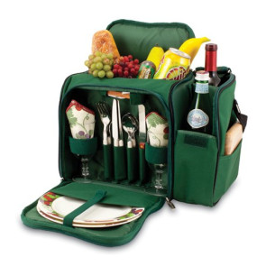 'Malibu' Picnic Cooler Tote, (Hunter Green with Nouveau Grape Pri