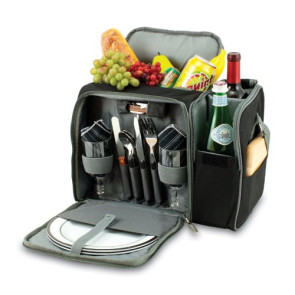 'Malibu' Picnic Cooler Tote, (Black with Silver Grey)