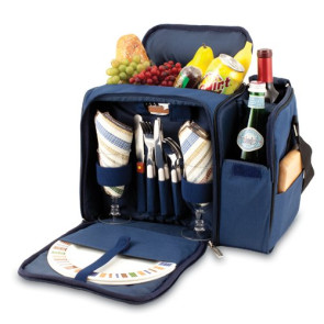 'Malibu' Picnic Cooler Tote, (Navy with Blue & Grey Stripe)