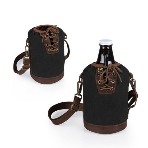 Insulated Black & Brown Growler Tote with 64-oz. Amber Glass Grow