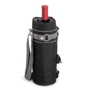 Wine Sack Beverage Tote, (Black with Grey)