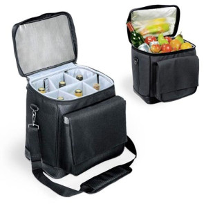Cellar 6-Bottle Wine Carrier & Cooler Tote, (Black with Silver