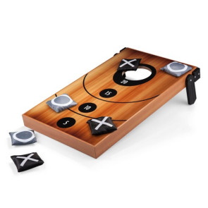 'Mini Bean Bag Throw' Game, (Wood Grain with Bean Bag Toss & Tic