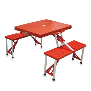 'Picnic Table Sport' Portable Folding Table with Seats, (Red with