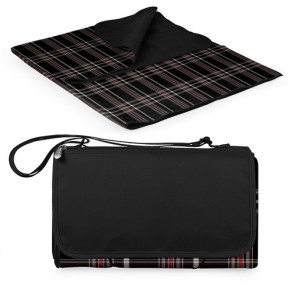 'Blanket Tote' Outdoor Picnic Blanket, (Black Tartan with Black L