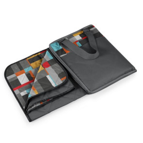'Vista' Outdoor Blanket Tote, (Grey with Geometric Print)