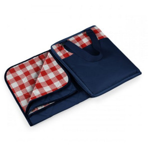 'Vista' Outdoor Blanket Tote, (Navy with Red Check)