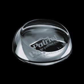 Slanted Glass Dome Engraved Paperweight - 3.5 in.