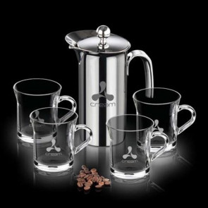 French Coffee Press & 4 Giovanni Mugs