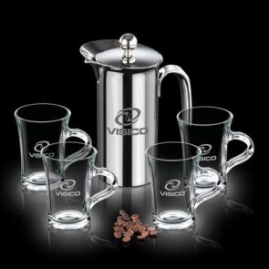 French Coffee Press & 4 Selkirk Mugs