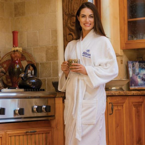 White Loop Terry Kimono Robe - Embroidered