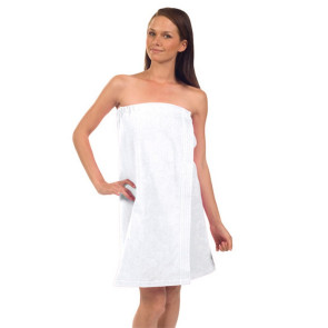 Women's Terry Velour 29in Spa Towel Wrap (White Embroidered)