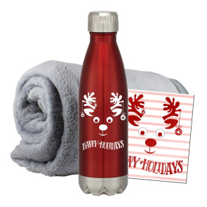 Fleece Blanket & Bottle Combo Set