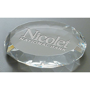 Deep Etched Faceted Oval Paperweight