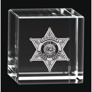 Deep Etched Small Cube Award Paperweight