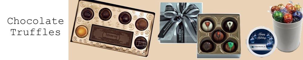Chocolate Truffle Gift boxes and tins personalized with your logo.