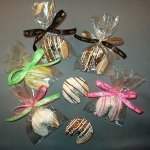 Custom Fortune cookies dipped and drizzled with chocolate and a custom message insert