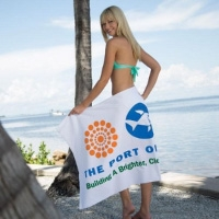 White Custom Printed Beach Towels